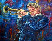 Trumpet Paintings - Chris Botti by David G Paul