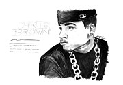 Kenal Louis Drawings Prints - Chris Brown Drawing Print by Kenal Louis