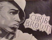 Rhythm And Blues Drawings Posters - Chris Brown Poster by Lakeesha Mitchell