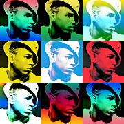 Lil Wayne Framed Prints - CHris Brown Warhol by GBS Framed Print by Anibal Diaz