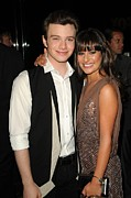 Michelle Photo Prints - Chris Colfer, Lea Michelle At Arrivals Print by Everett