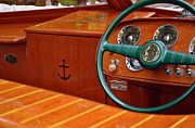 Sea Salt Framed Prints - Chris Craft Cockpit Framed Print by Michelle Calkins