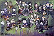 Drums Paintings - Chris Daniels and Friends by Laurie Maves