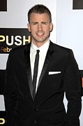 Pocket Square Prints - Chris Evans At Arrivals For Push Print by Everett