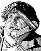 Black And White Digital Art Posters - Chris Farley Poster by Dan Lockaby