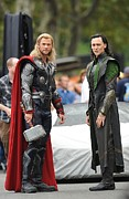 Paparazziec Photo Framed Prints - Chris Hemsworth, Tom Hiddleston Framed Print by Everett