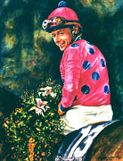 Kentucky Derby Paintings - Chris McCarron up by Thomas Allen Pauly