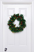Holly Berry Still Life Prints - Chrismas wreath on a white door Print by Richard Thomas