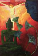 Statue Paintings - Christ and Buddha by Paul Ranson