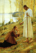 Jesus Prints Prints - Christ and Mary Magdalene  Print by Albert Edelfelt