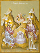 Icon Byzantine Painting Posters - Christ and the Samaritan Woman Poster by Julia Bridget Hayes