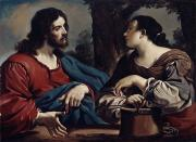 Guercino (giovanni Francesco Barbieri) (1591-1666) Posters - Christ and the Woman of Samaria Poster by Giovanni Francesco Barbieri Guercino