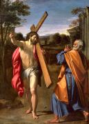 Peter Painting Metal Prints - Christ Appearing to St. Peter on the Appian Way Metal Print by Annibale Carracci