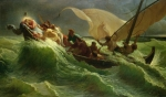 Waves Paintings - Christ Asleep in his Boat  by Jules Joseph Meynier