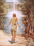 River Jordan Painting Posters - Christ baptised by John the Baptist Poster by William Brassey Hole