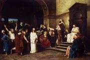 Crowd Painting Prints - Christ Before Pilate Print by Mihaly Munkacsy