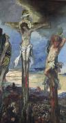 Moreau Paintings - Christ between the Two Thieves by Gustave Moreau