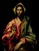 Redeemer Paintings - Christ Blessing by El Greco