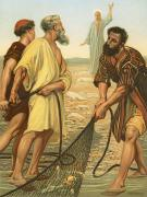 Fishing Painting Posters - Christ calling the disciples Poster by Philip Richard Morris