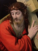 Wooden Painting Metal Prints - Christ Carrying the Cross Metal Print by Andrea Solario