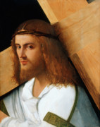 Carrying Framed Prints - Christ Carrying the Cross Framed Print by Giovanni Bellini