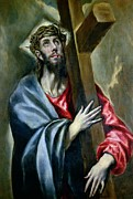 Religious Jesus On Cross Framed Prints - Christ Clasping the Cross Framed Print by El Greco