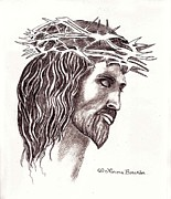 Christ Drawings - Christ Crucified by Norma Boeckler