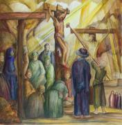 Christ Drawings - Christ Crucified by Rick Ahlvers