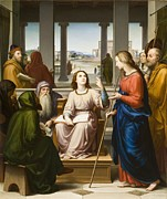 Child Jesus Painting Prints - Christ Disputing with the Doctors in the Temple Print by Franz von Rohden