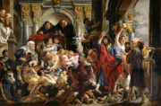 Business Paintings - Christ Driving the Merchants from the Temple by Jacob Jordaens