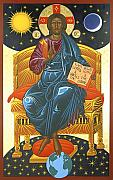Jesus Christ Icon Painting Posters - Christ Enthroned Icon  Poster by Mark Dukes