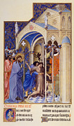 Manuscript Illumination Prints - CHRIST EXORCISING A DEMON from a possessed youth: illumination from the 15th century ms. of the Tres Riches Heures of Jean, Duke of Berry Print by Granger