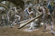The Wooden Cross Art - Christ Falls Beneath the Cross by Tissot