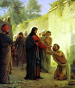 Jesus Painting Framed Prints - Christ Healing the Blind Man Framed Print by Carl Heinrich Bloch