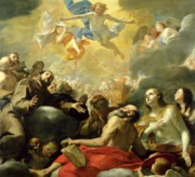 Heavenly Angels Paintings - Christ in Glory with the Saints by Mattia Preti