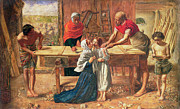 Religious Metal Prints - Christ in the House of His Parents Metal Print by JE Millais and Rebecca Solomon