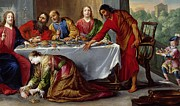 Guest Painting Prints - Christ in the House of Simon the Pharisee Print by Claude Vignon