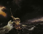 Gospel Painting Prints - Christ in the Storm on the Sea of Galilee Print by Ludolph Backhuysen