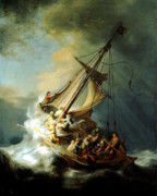 Christ Painting Framed Prints - Christ In The Storm Framed Print by Rembrandt