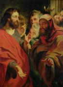 Bible Painting Posters - Christ Instructing Nicodemus Poster by Jacob Jordaens