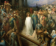 Bible Painting Prints - Christ Leaves his Trial Print by Gustave Dore