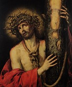 Jesus Painting Framed Prints - Christ Man of Sorrows Framed Print by Antonio Pereda y Salgado