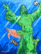 Turtle Pastels Acrylic Prints - Christ of the Deep Acrylic Print by William Depaula