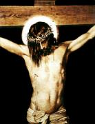 Religious Art Pyrography - Christ on the Cross - detail by Dino Muradian