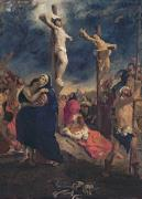 Virgin Mary Framed Prints - Christ on the Cross Framed Print by Delacroix