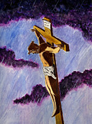 Jesus Art Painting Framed Prints - Christ on the Cross Framed Print by Michael Vigliotti