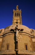 Locations Prints - Christ on the cross outside the Nortre Dame De La Garde Print by Sami Sarkis