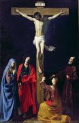 Jesus Painting Prints - Christ on the Cross with the Virgin Mary Magdalene St John and St Francis of Paola Print by Nicolas Tournier