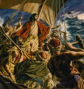 Israel Painting Posters - Christ on the Sea of Galilee Poster by Jack Hayes