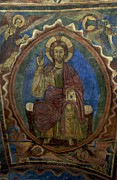 Roman Photo Prints - Christ Pantocrator fresco. Basilica Saint-Julien. Brioude. Haute Loire. Auvergne. France. Print by Bernard Jaubert